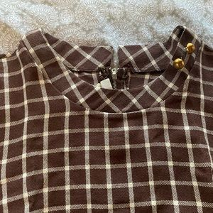 Dresses & Skirts - Vintage Brown Dress - Short Sleeve - Plaid